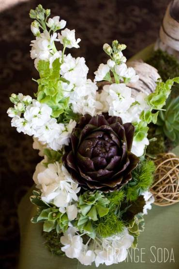 White stock, Bells of Ireland, green Dianthus and Artichoke