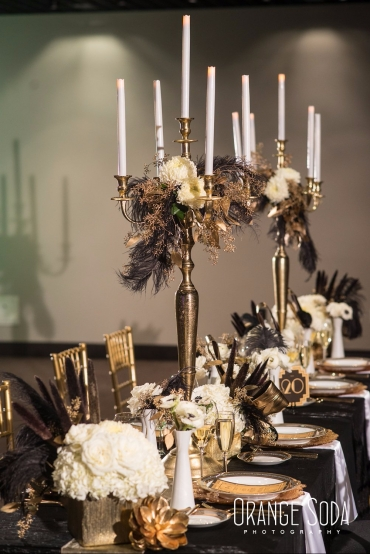 Vintage floral decor on long banquet table