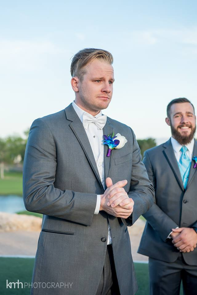 groom and tears