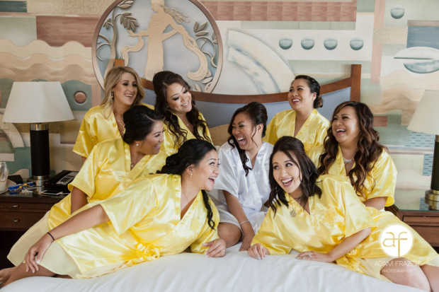 bride-bridesmaids-yellow-robes