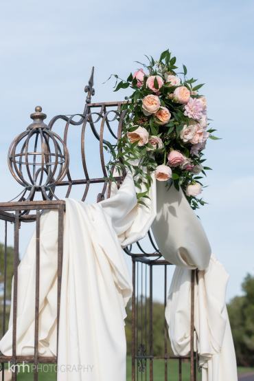 wedding arch with white drape | Wedding arch with fabric and floral