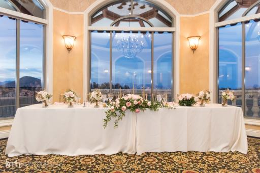 Wedding head table with floral | Pink and Ivory wedding table