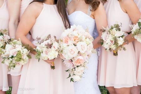 Garden rose cascade bridal bouquet | pastel bridal party