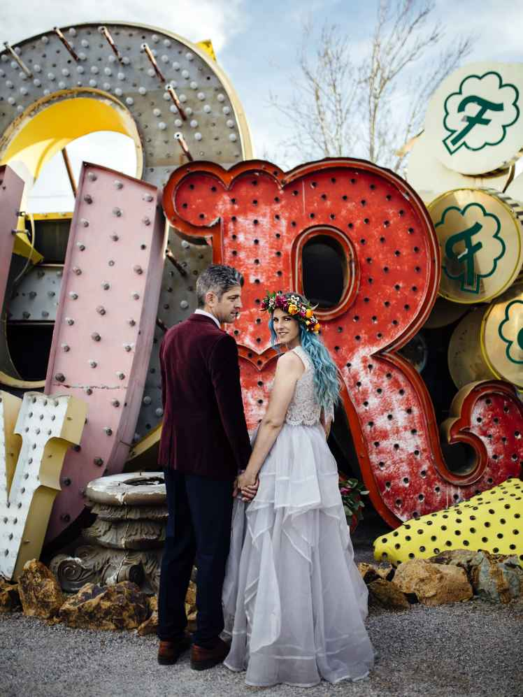 Bride and Groom at the Neon Museum las vegas