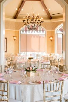Blush pink wedding tables | Gold and pink wedding centerpiece